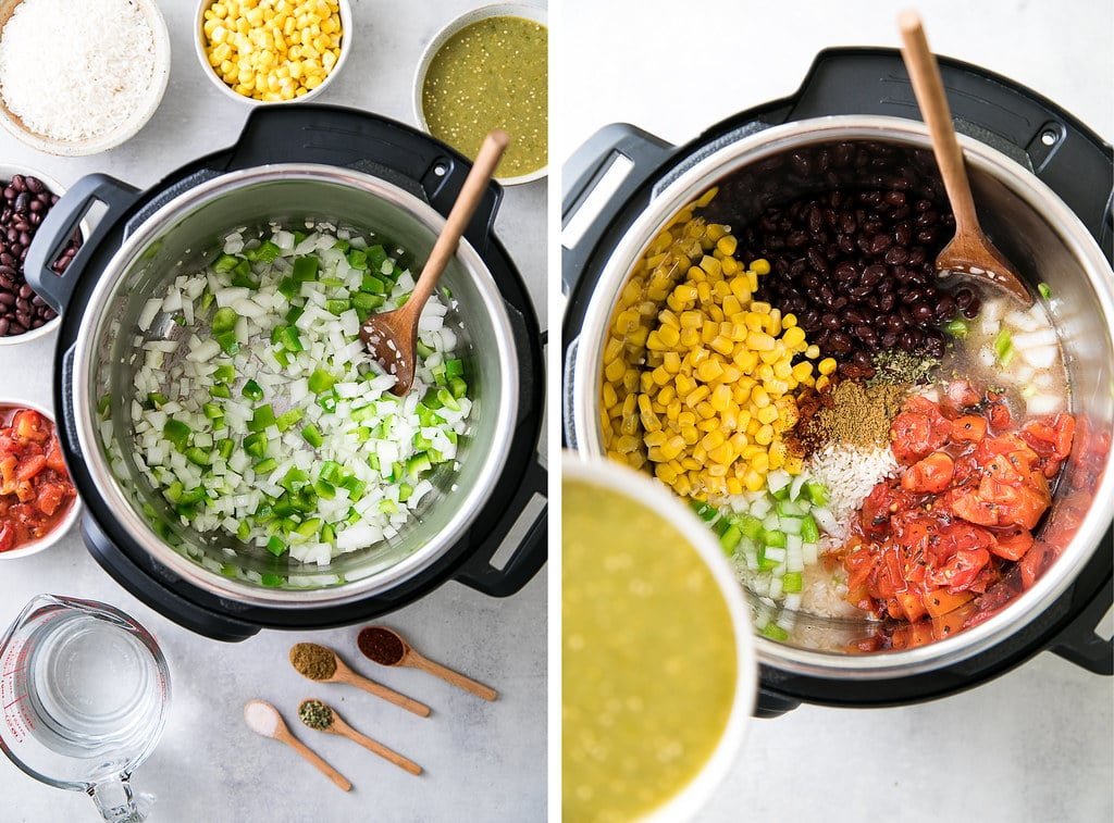 side by side photos showing the process of making enchilada rice in an instant pot.