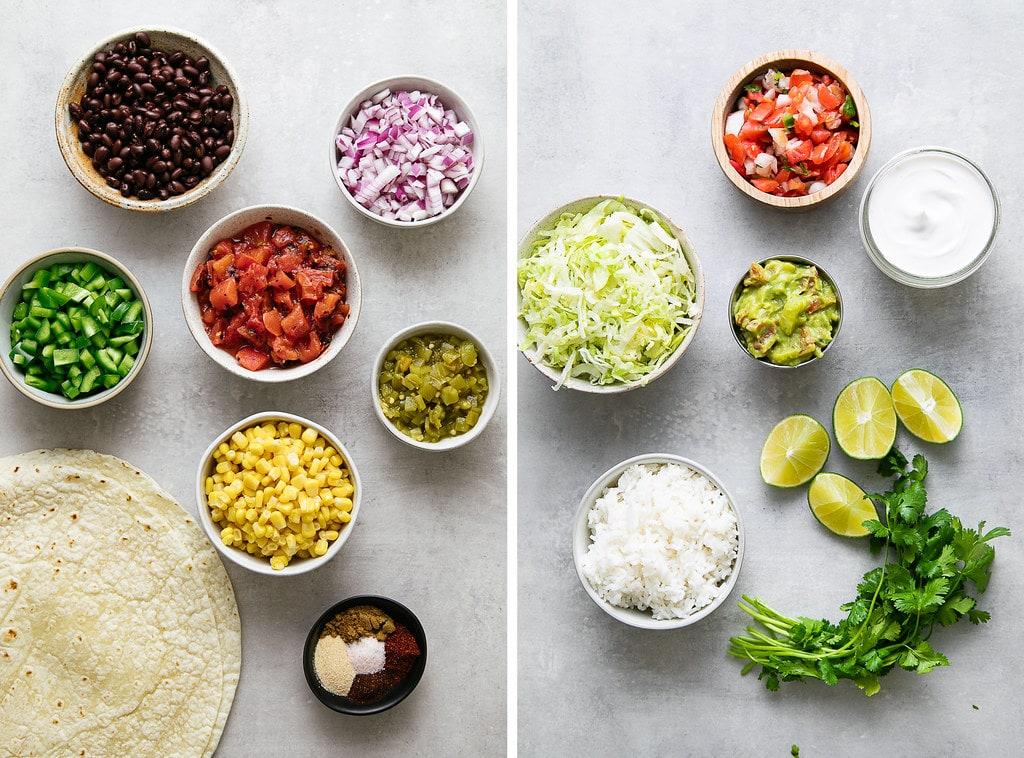 top down view of ingredients used to make vegan burritos.