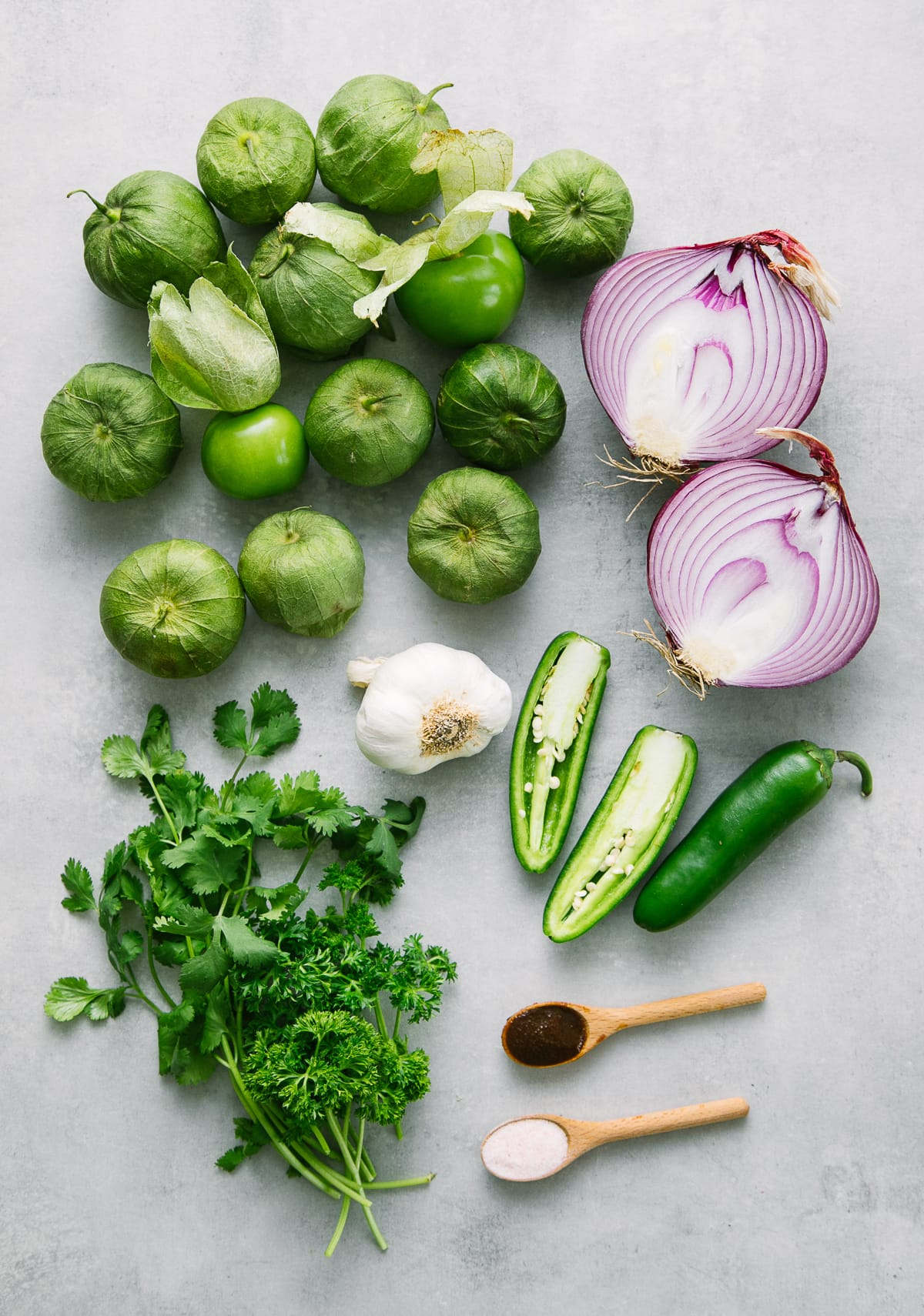 top down view of ingredients used to make the best verde sauce recipe.