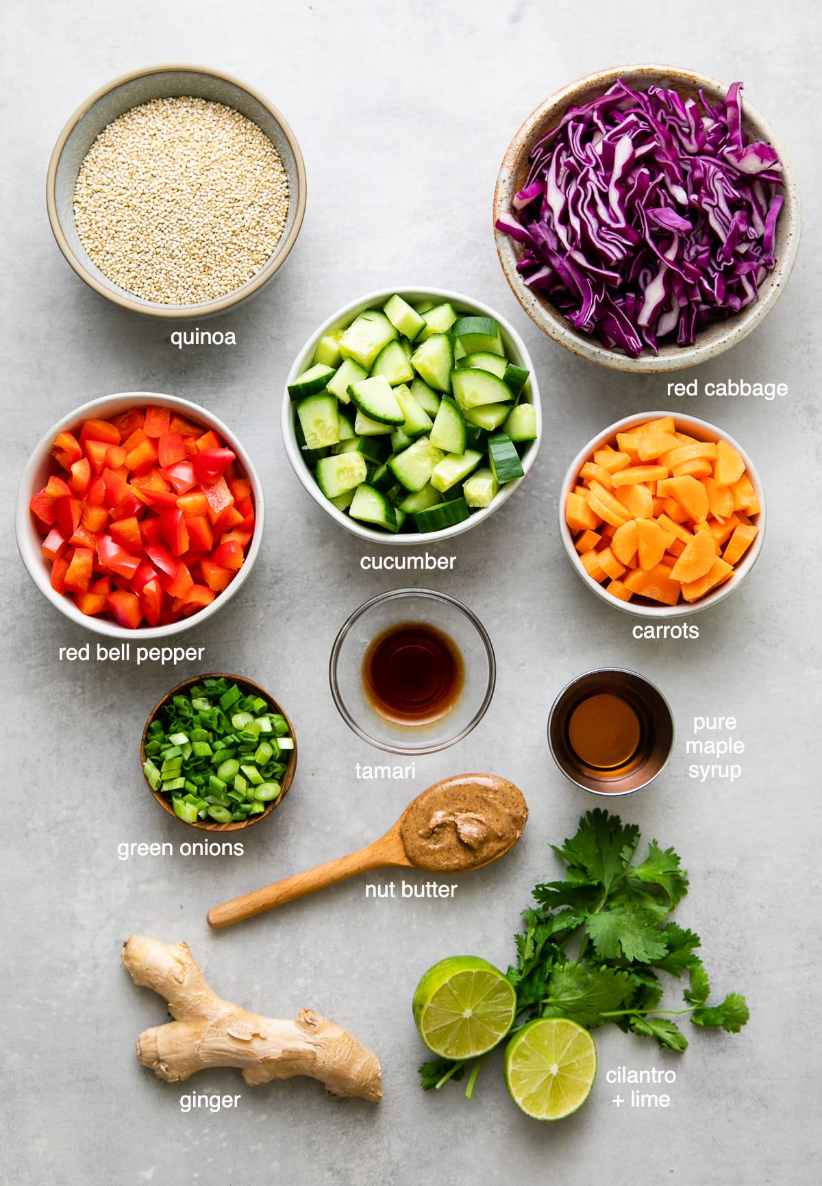 top down view of ingredients used to make healthy vegan Thai quinoa salad recipe.
