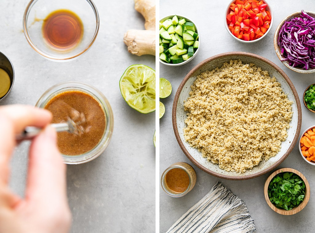 side by side photos showing the process of making Thai quinoa salad.