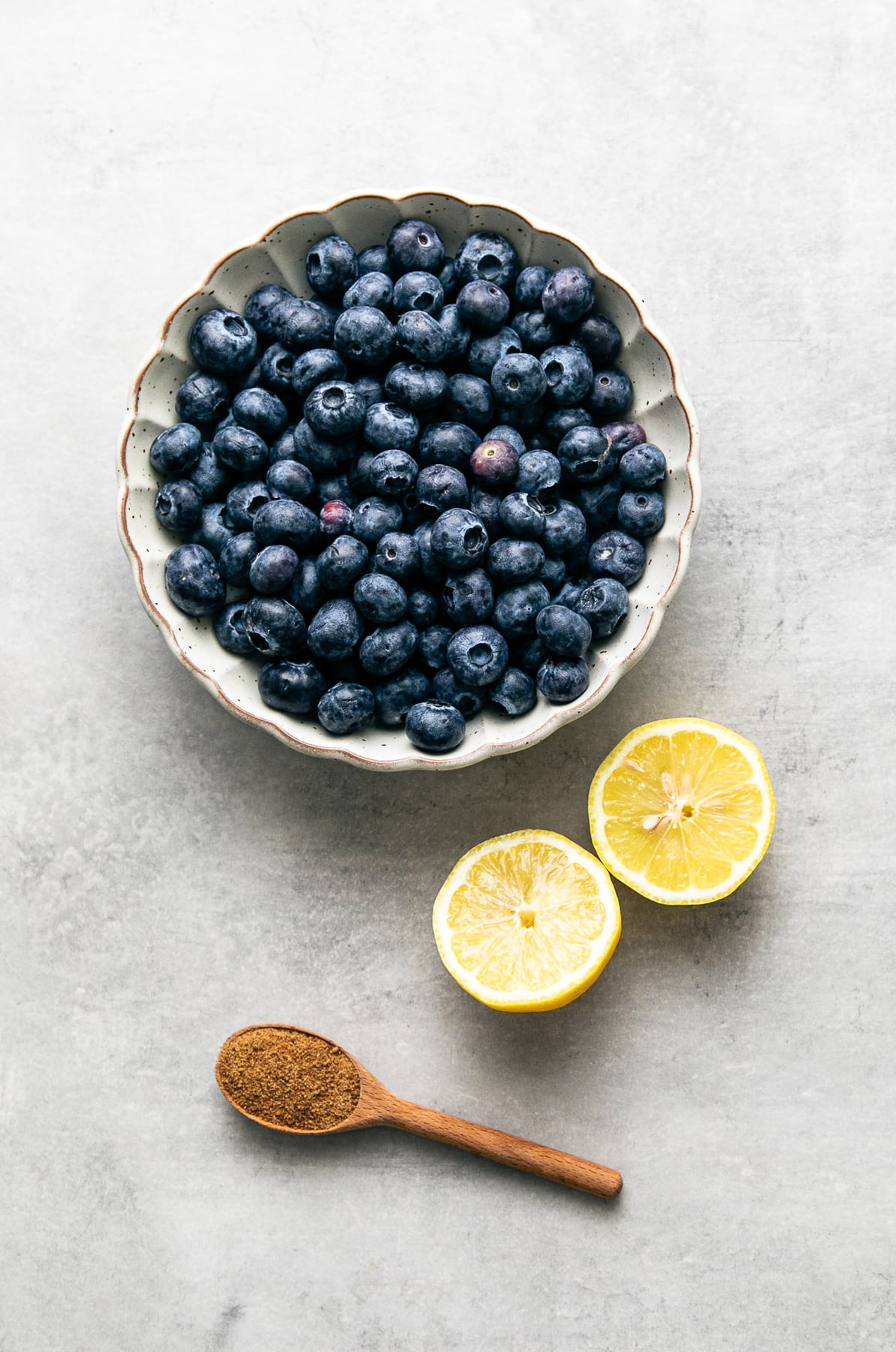 top down view of ingredients used to make fresh blueberry compote.