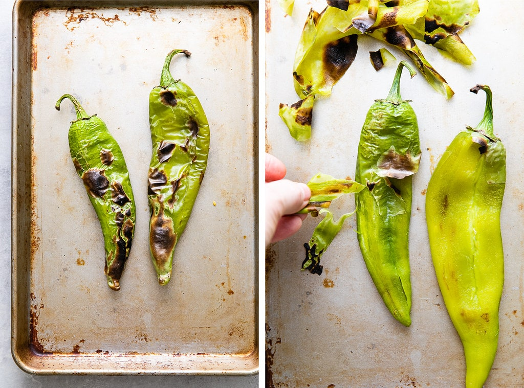 side by side photos showing the process of prepping charred hatch chilies.