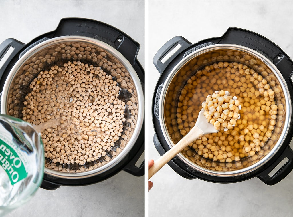 side by side photos showing the process of making unsoaked Instant Pot chickpeas.