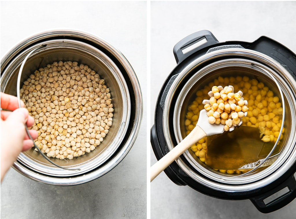 side by side photos showing the process of making Instant Pot chickpeas using soaked chickpeas.