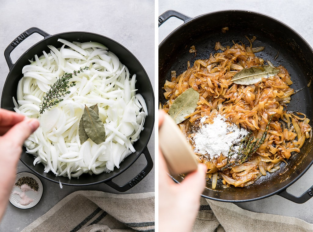side by side photos showing the process of caramelizing onions.