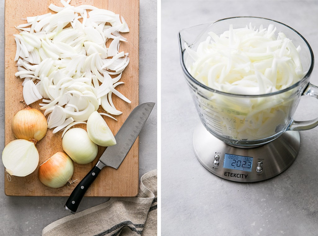 side by side photos of prepped onions and measuring onions on a scale.