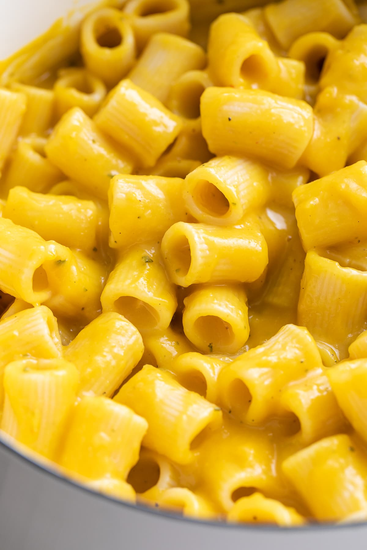 up close view of butternut squash pasta sauce tossed with rigatoni.