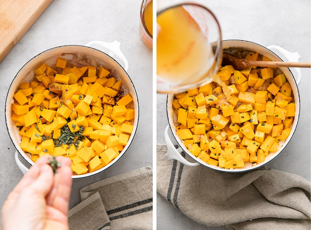 side by side photos showing the process of making vegan butternut squash pasta sauce.
