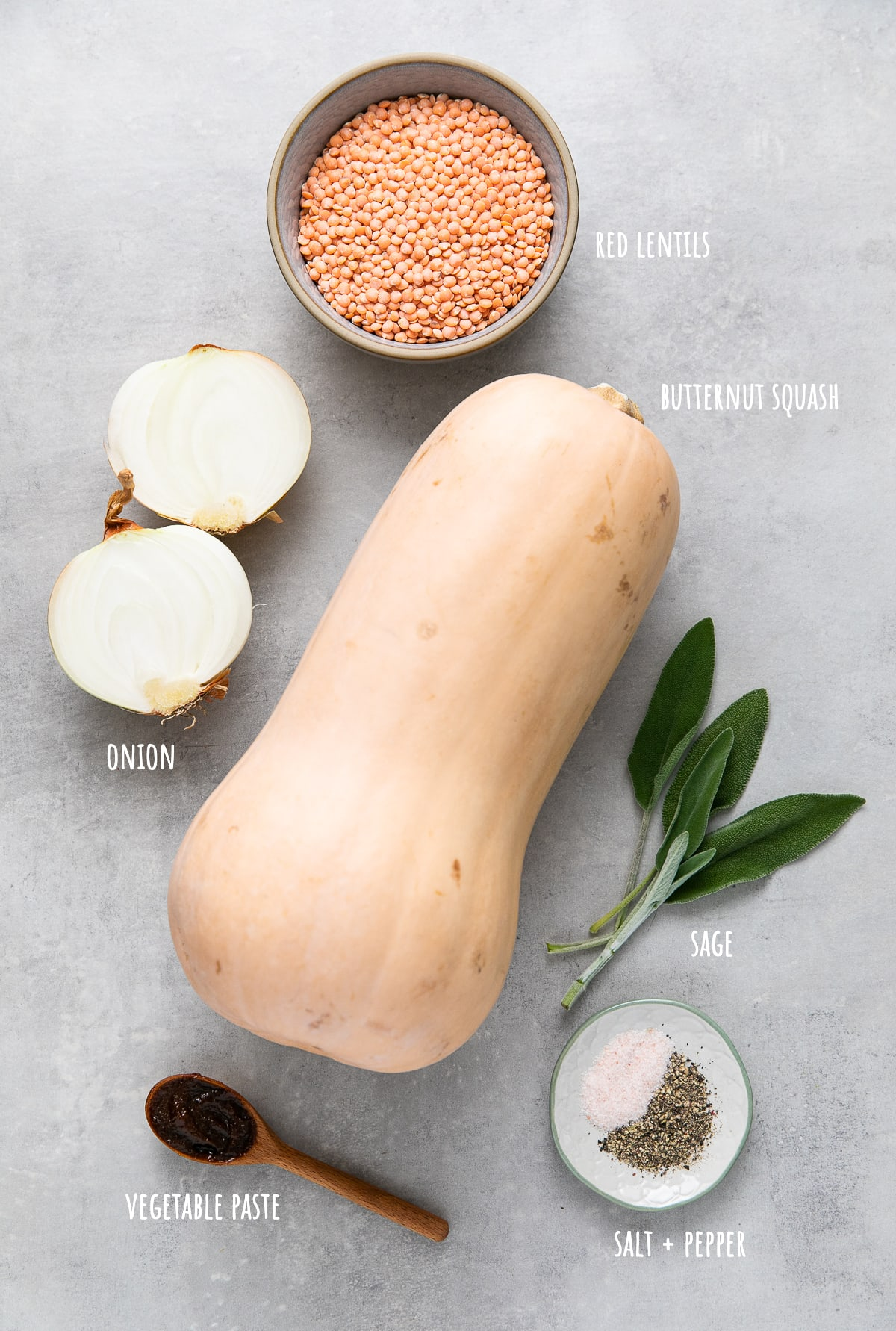 top down view of ingredients used to make healthy butternut squash red lentil soup.