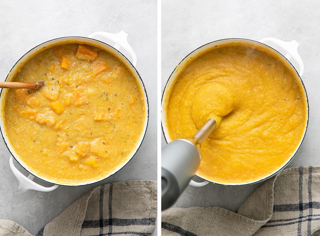 side by side photos showing the process of pureeing butternut squash red lentil soup.