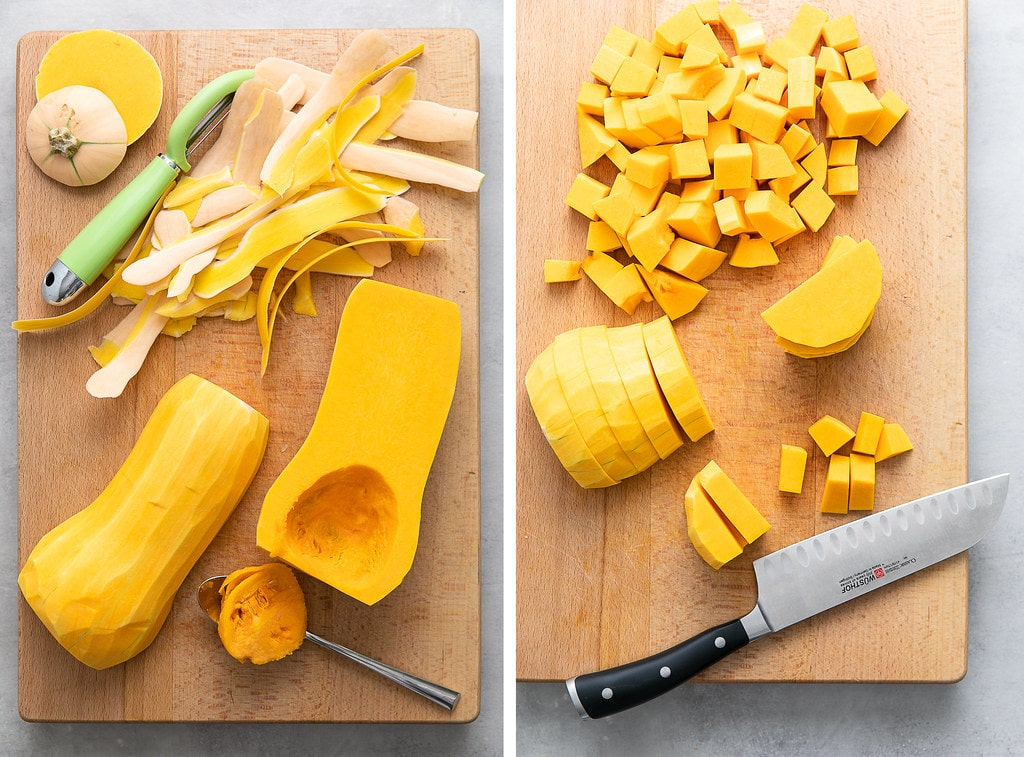 side by side photos showing the process of prepping and cutting butternut squash.