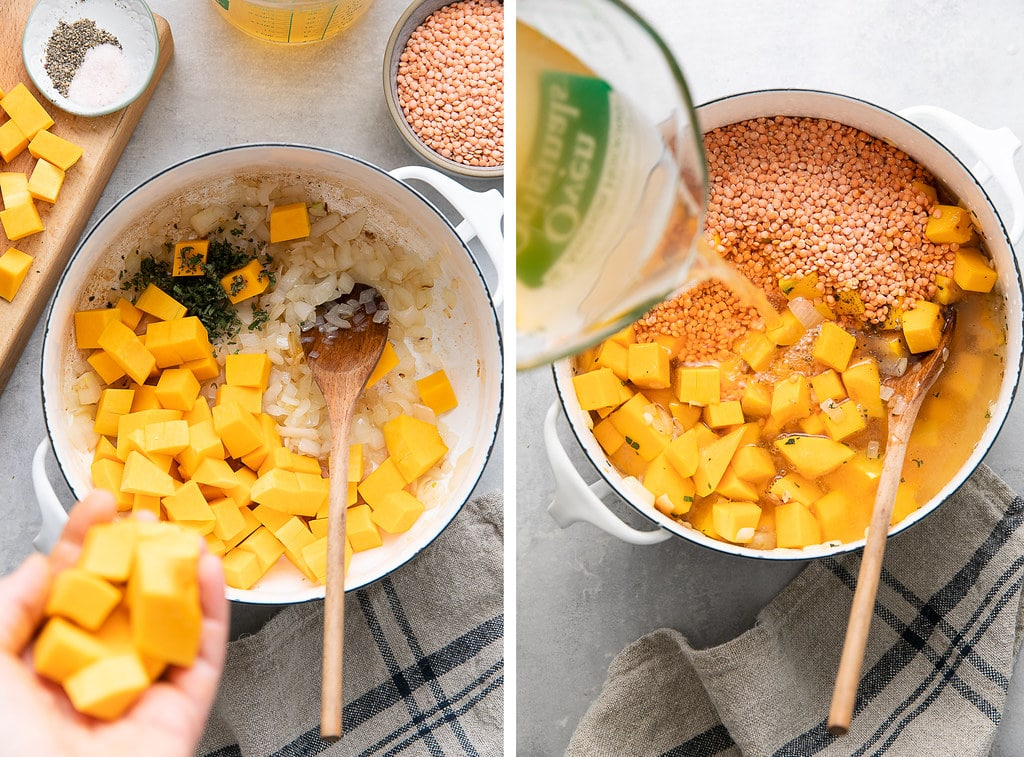 side by side photos showing the process of making vegan butternut squash red lentil soup in a white pot with items surrounding.