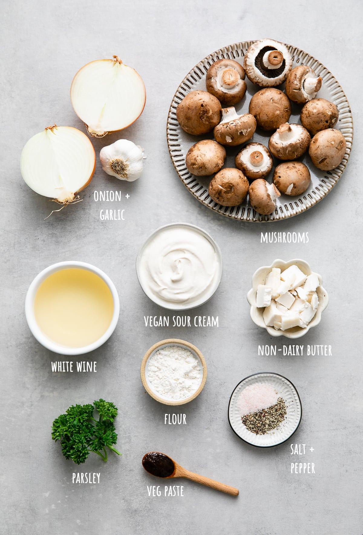 top down view of ingredients used to make the best vegan mushroom stroganoff recipe.
