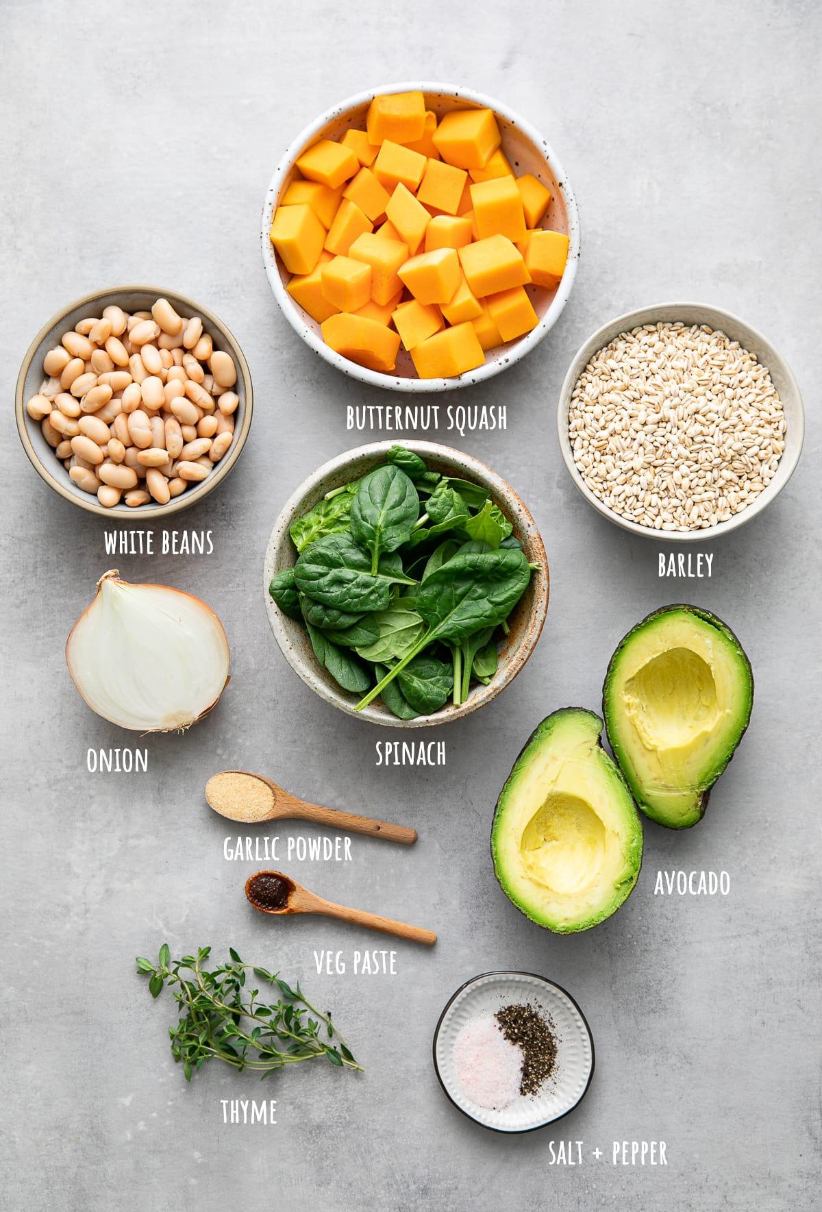 top down view of ingredients used to make healthy barley grain bowl recipe.