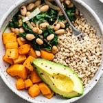 top down view of vegan barley bowl.