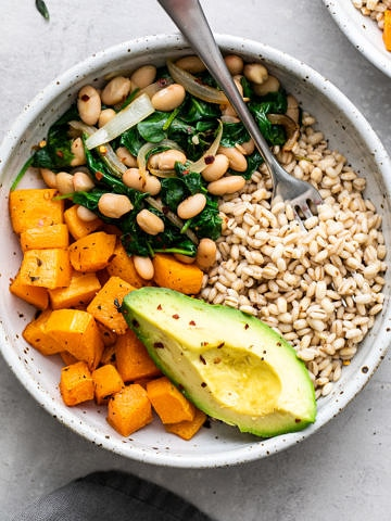 top down view of vegan barley bowl.