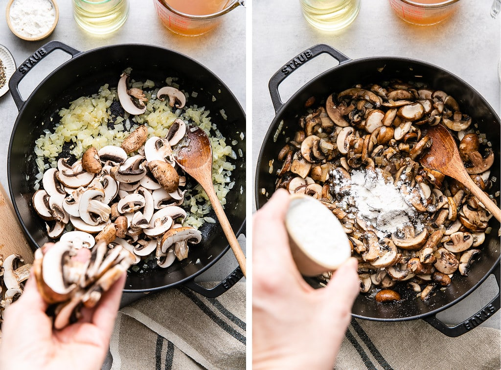 side by side photos showing the process of sauteeing onions and adding flour to pan.
