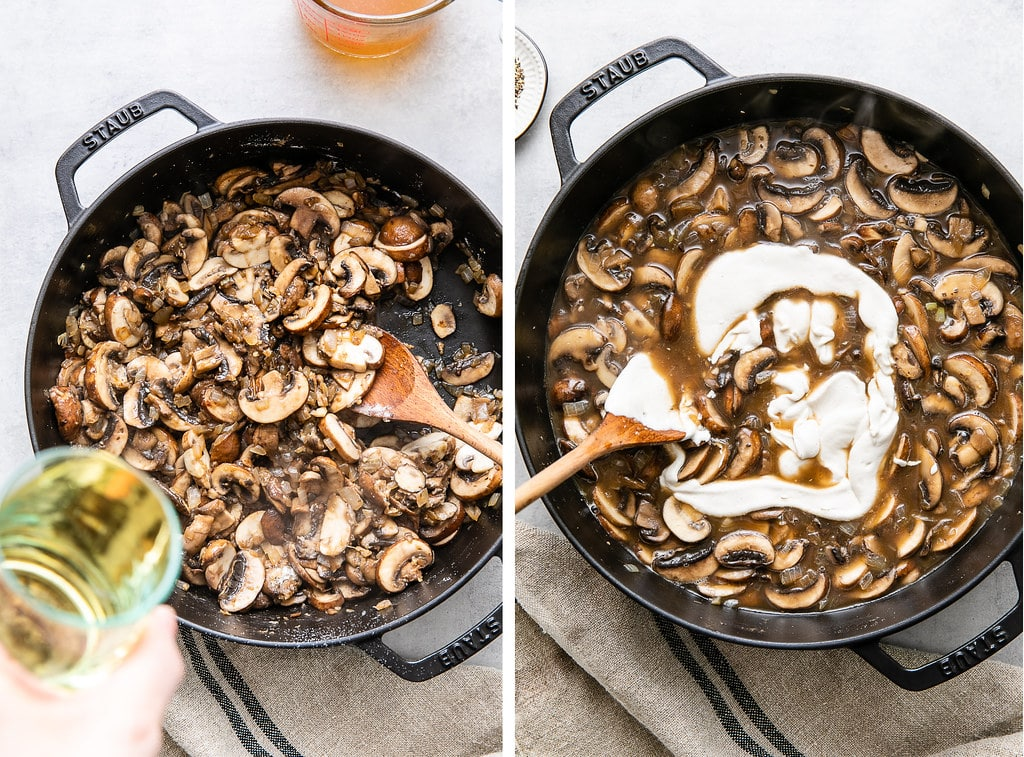 side by side photos of adding wine and sour cream to mushroom stroganoff while cooking.