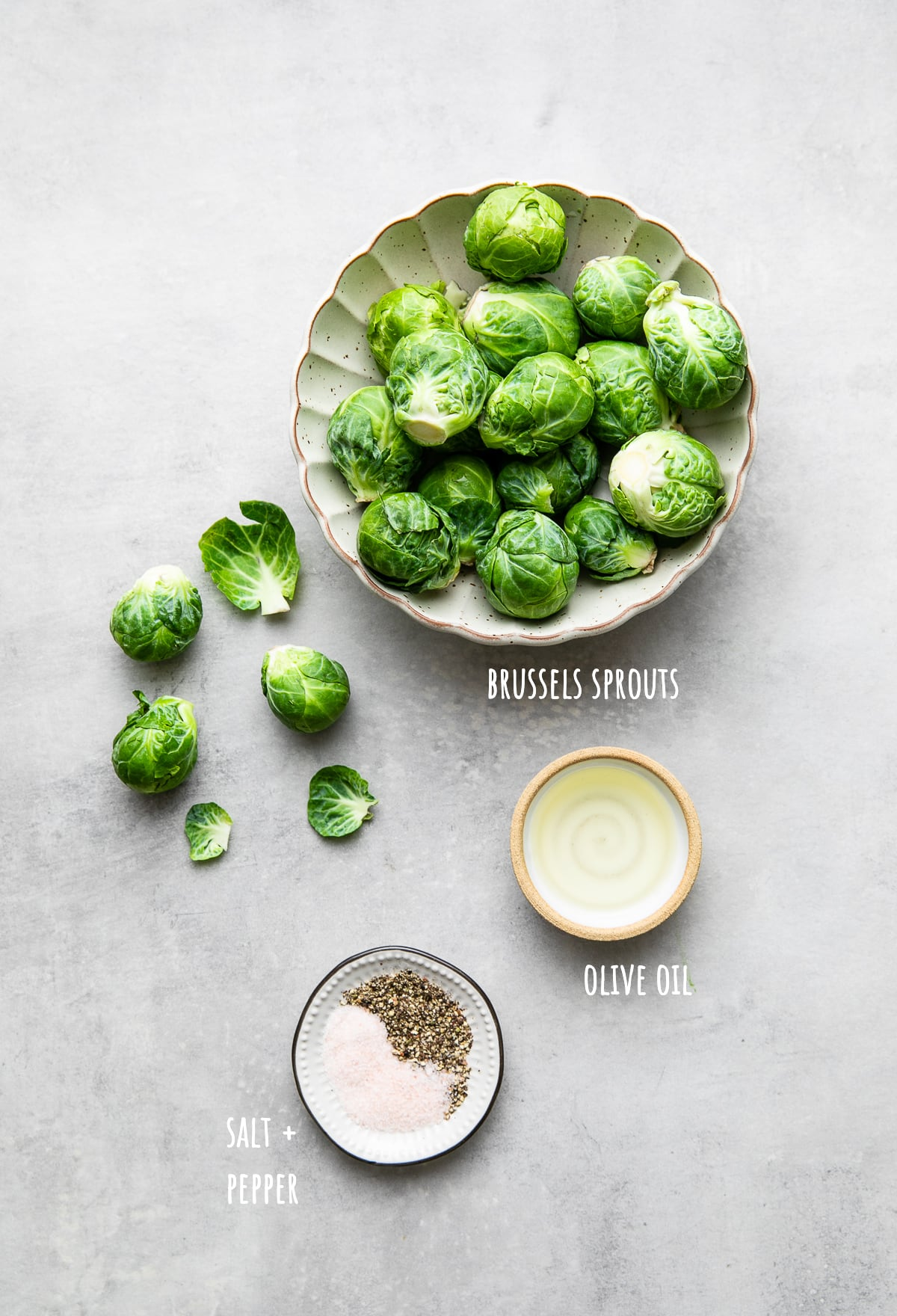 top down view of ingredients used to make the best roasted brussels sprouts.