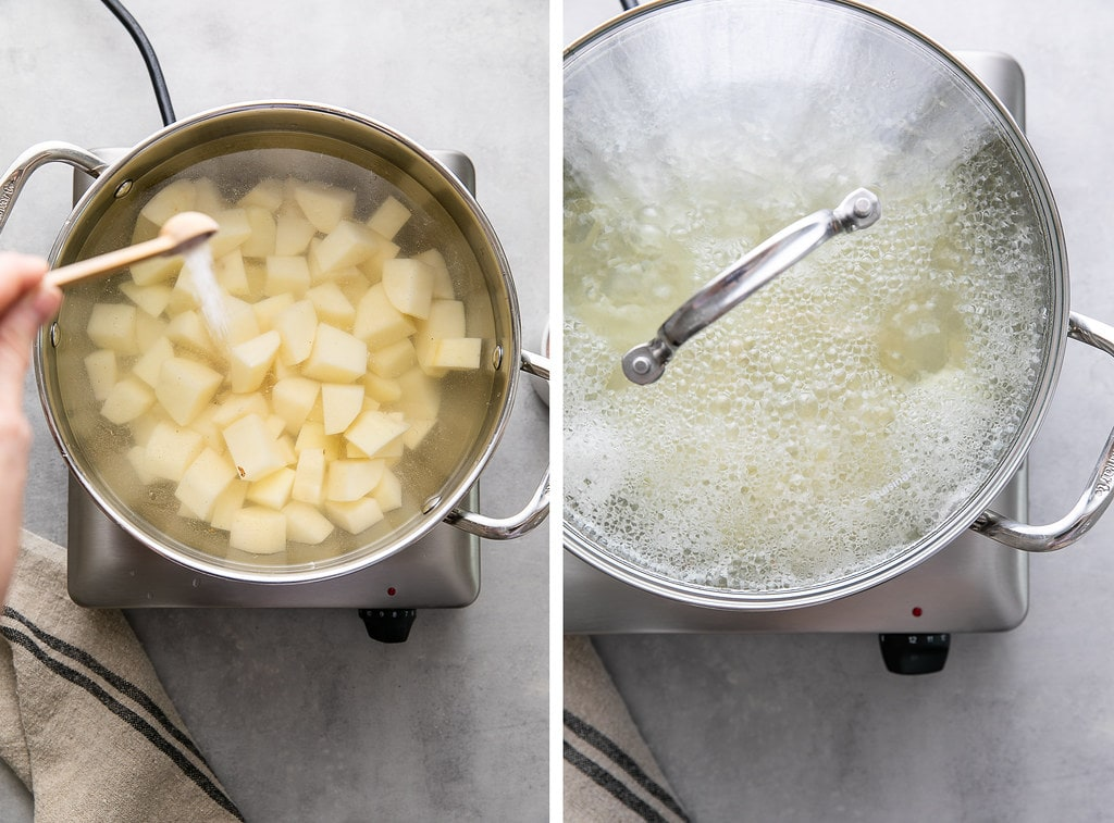 side by side photos showing the process of boiling vegan mashed potatoes.