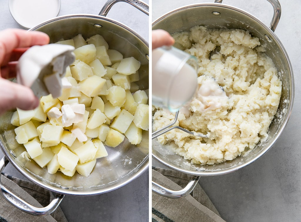 side by side photos showing the process of making vegan mashed potatoes.