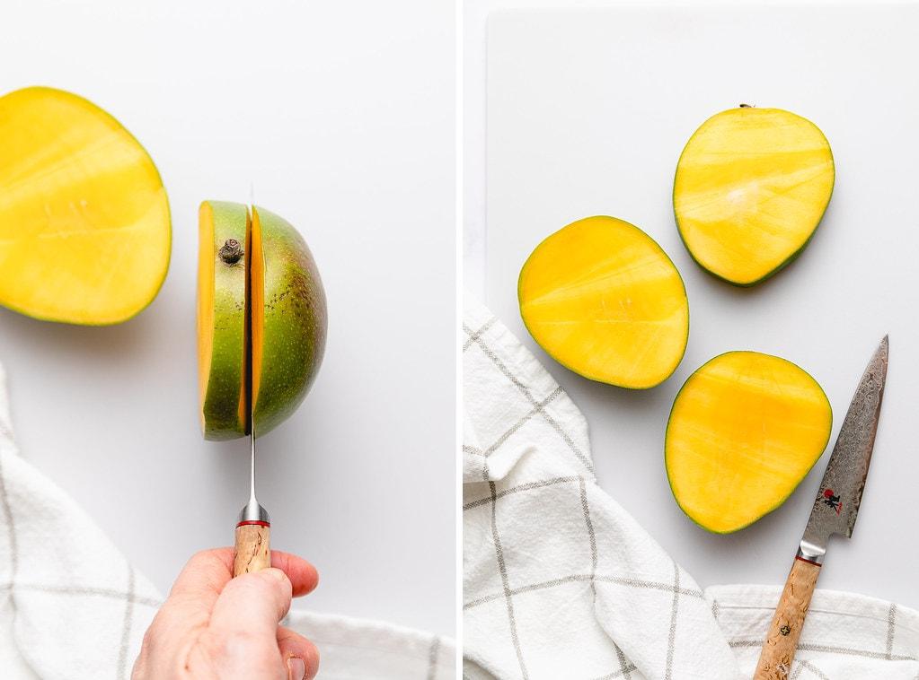 top down view showing process of cutting mango.