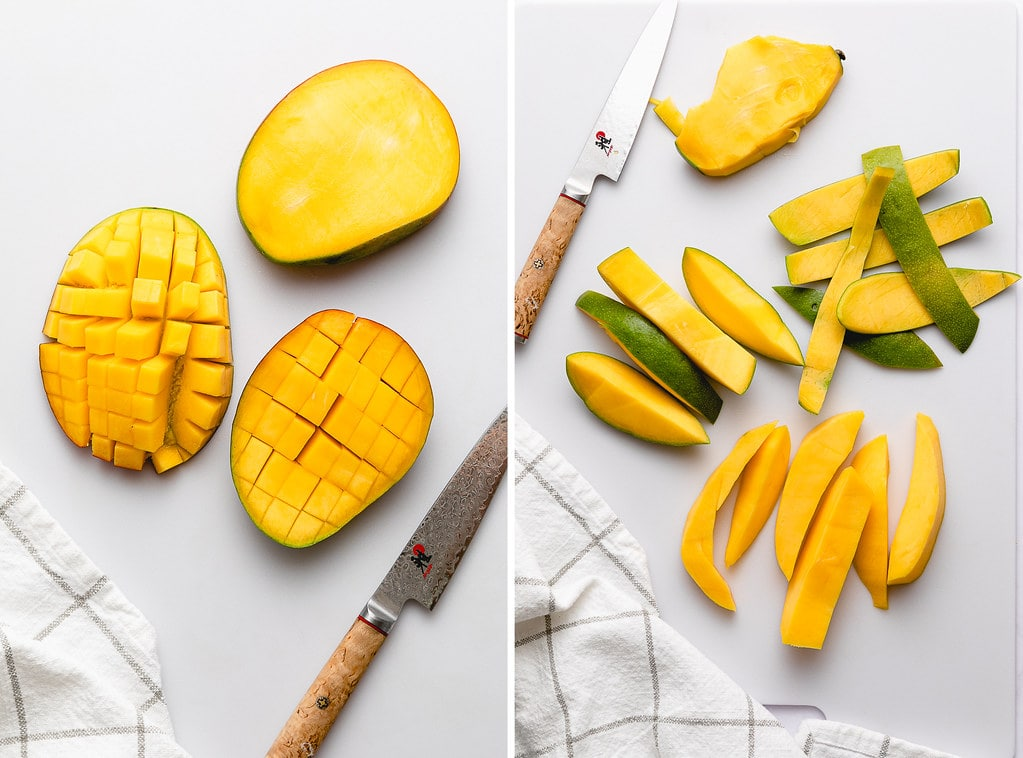 top down view of different ways to slice mango.