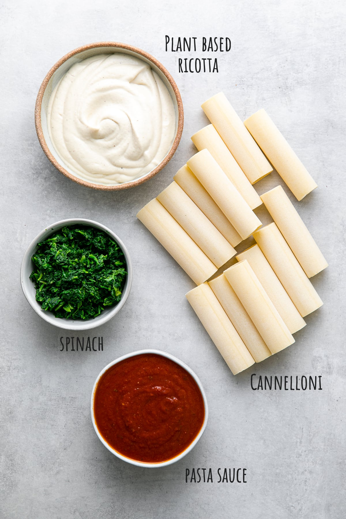 top down view of ingredients used to make vegan cannelloni recipe.