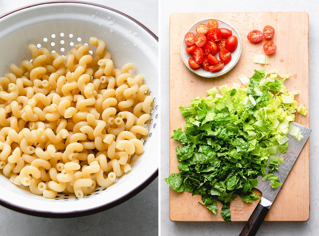 side by side photos of cooked pasta and prepped romaine.