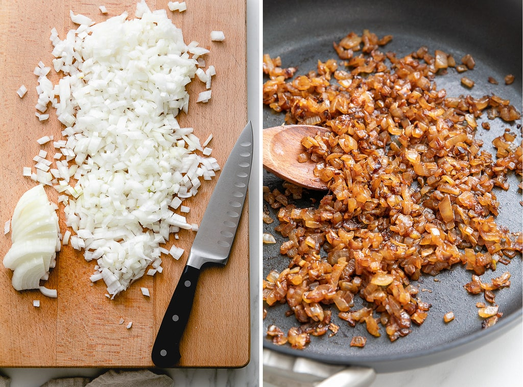side by side photos of diced onions before and after caramelizing.