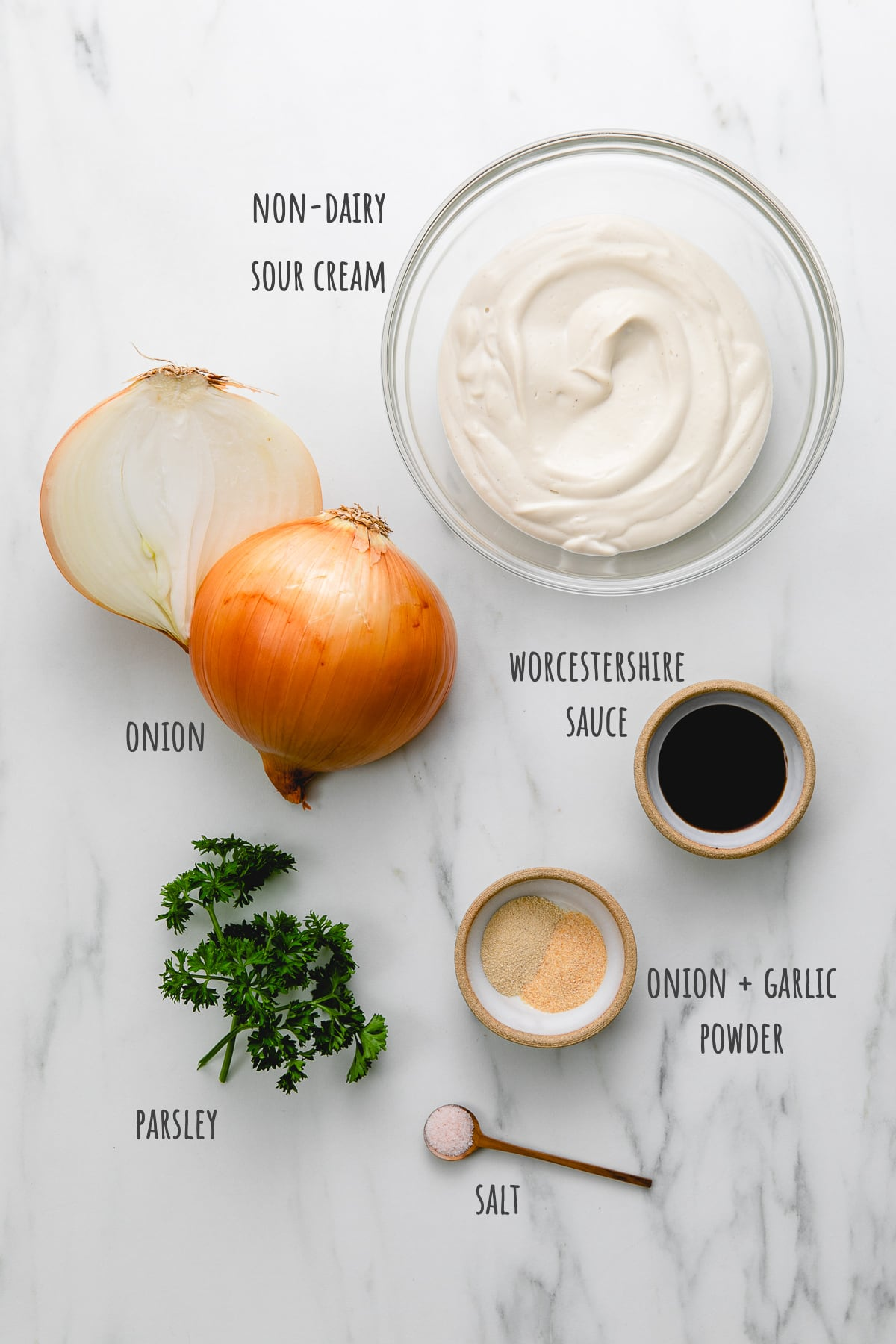 top down view of ingredients used to make vegan french onion dip recipe.