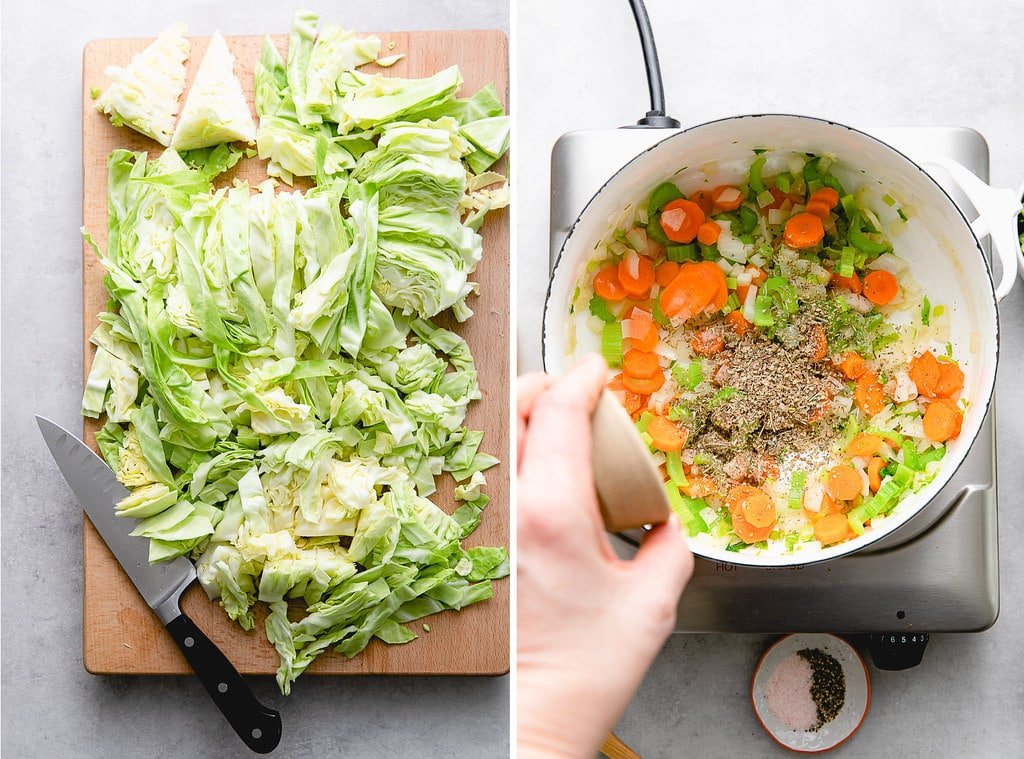 side by side photos showing the process of making cabbage soup.