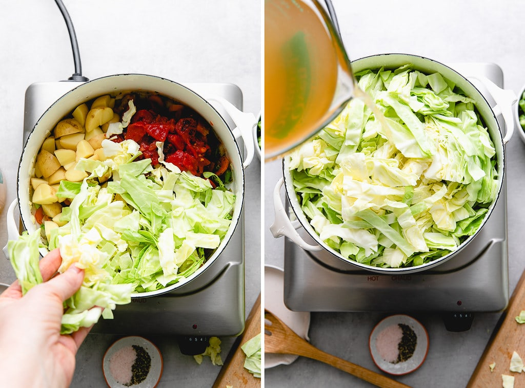 side by side photos showing the process of making vegetable cabbage soup.