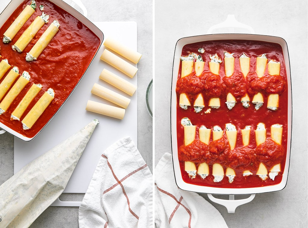 side by side photos showing the process of making vegan cannelloni.