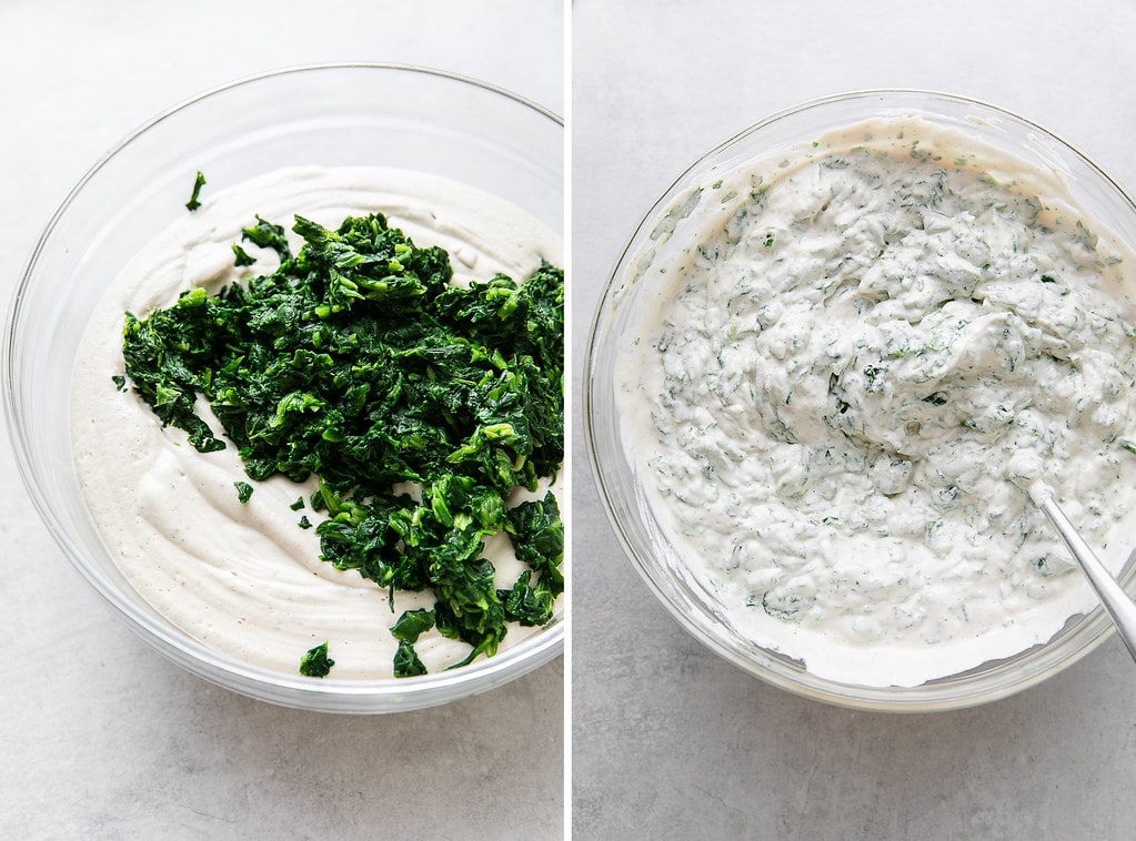 side by side photos of vegan ricotta mixed with spinach.