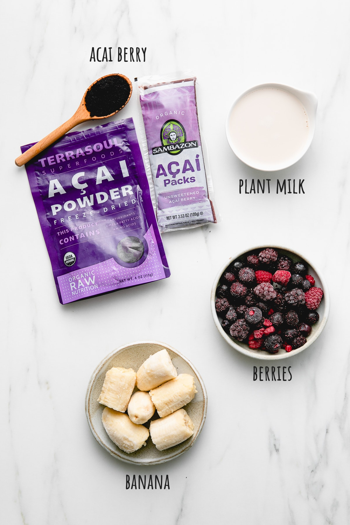 top down view of ingredients used to make best acai smoothie recipe.