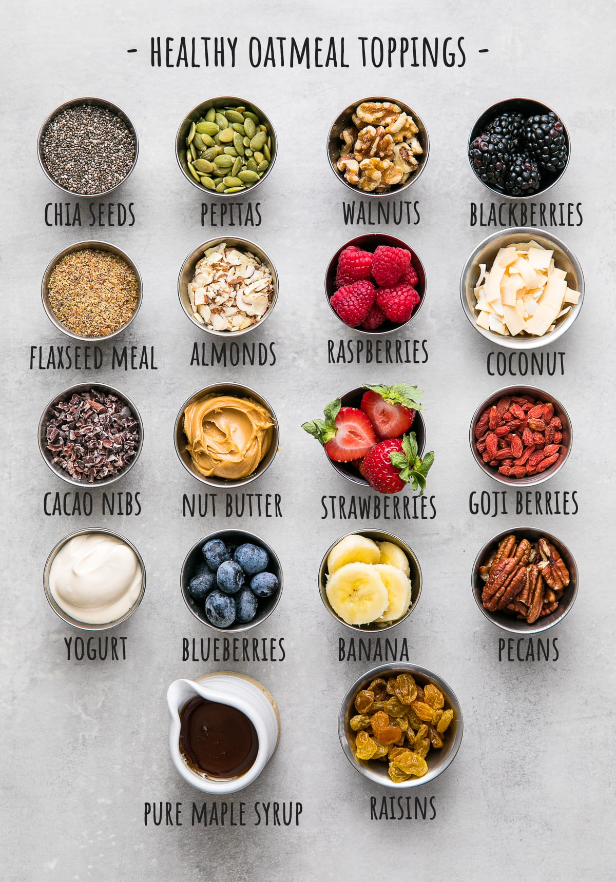 top down view of various ingredients to use for topping overnight oats.