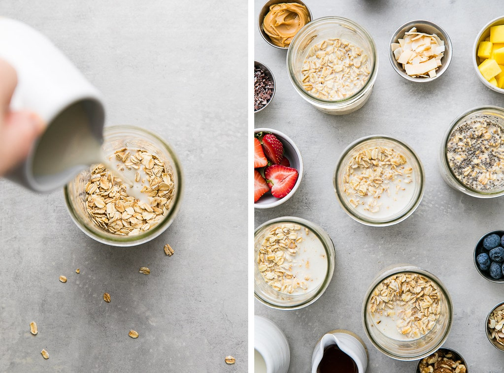 side by side photos showing the process of making overnight oats in mason jars.