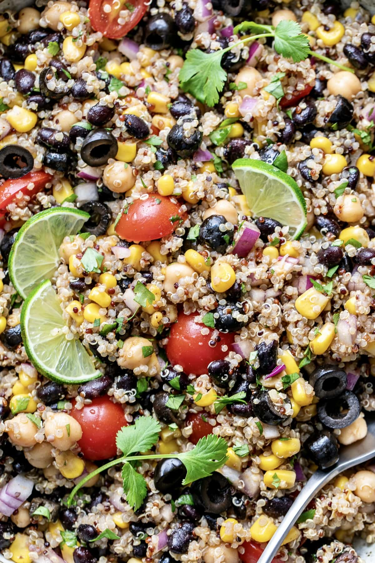up close view of southwest quinoa salad.