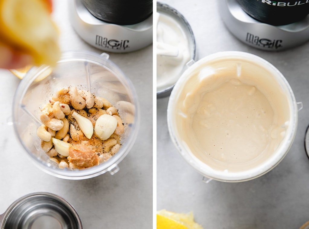 side by side photos showing the process of making vegan alfredo sauce.
