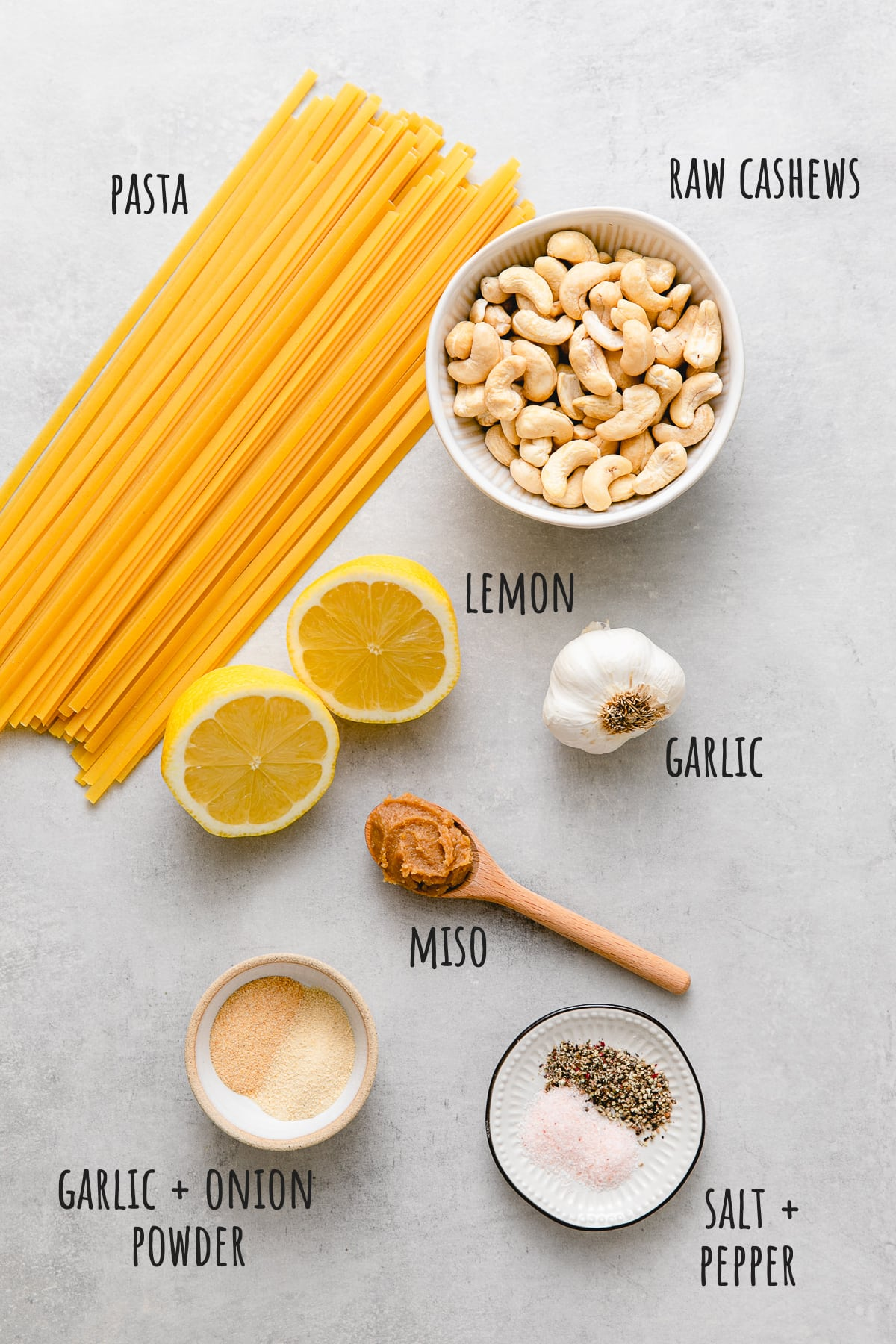 top down view of ingredients used to make vegan alfredo sauce with cashews.
