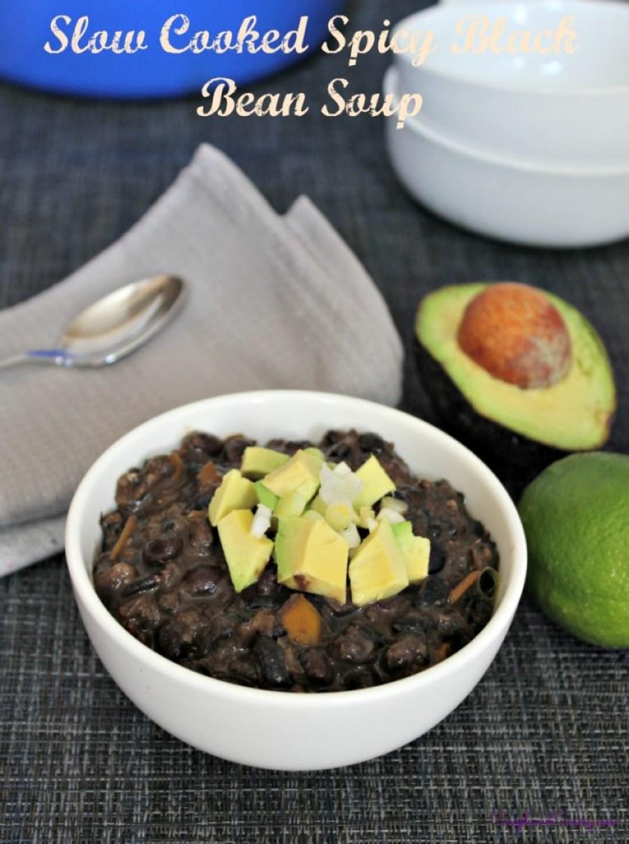 Slow Cooked Spicy Black Bean Soup vegan gluten free simpleandsavory.com