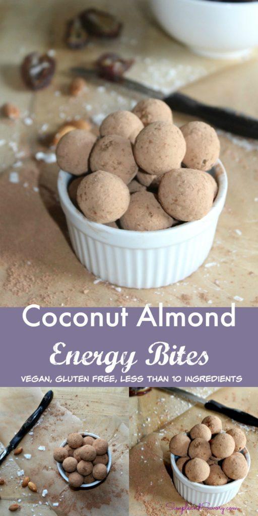 Coconut Almond Energy Bites Simpleandsavory.com gluten free, naturally sweet, vegan SimpleandSavory.com