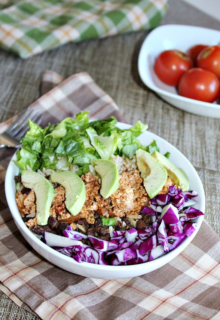 Veggie burrito bowl made with tofu and fresh vegetables Simple and Savory