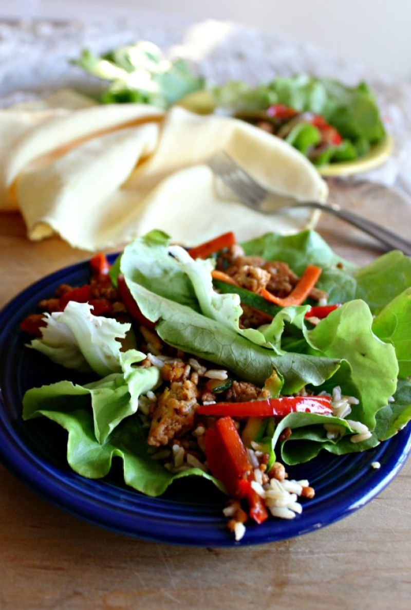Asian Chicken lettuce wraps gluten fee and healthy