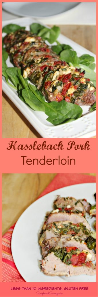 Hassleback Pork Tenderloin recipe stuffed with spinach gluten free less than 10 ingredients