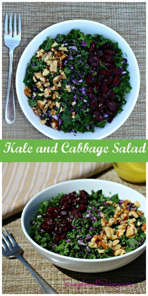 Kale and cabbage salad collage simple and savory.com