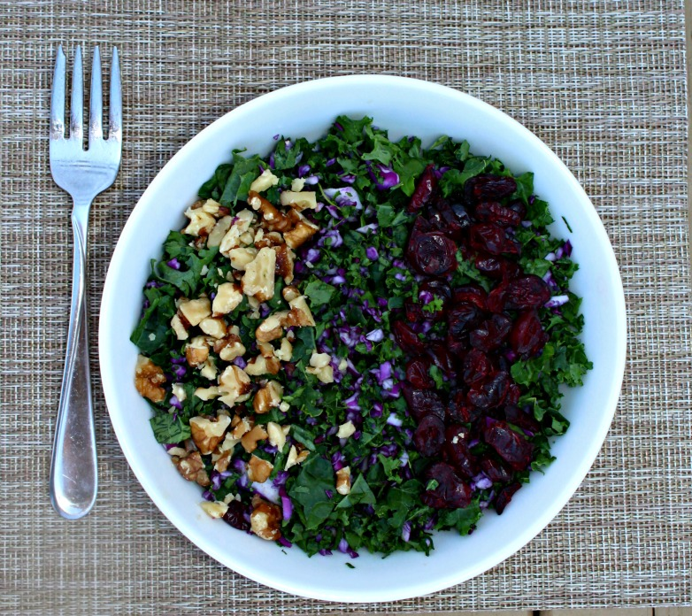 Kale salad with walnuts cabbage simple and savory.com