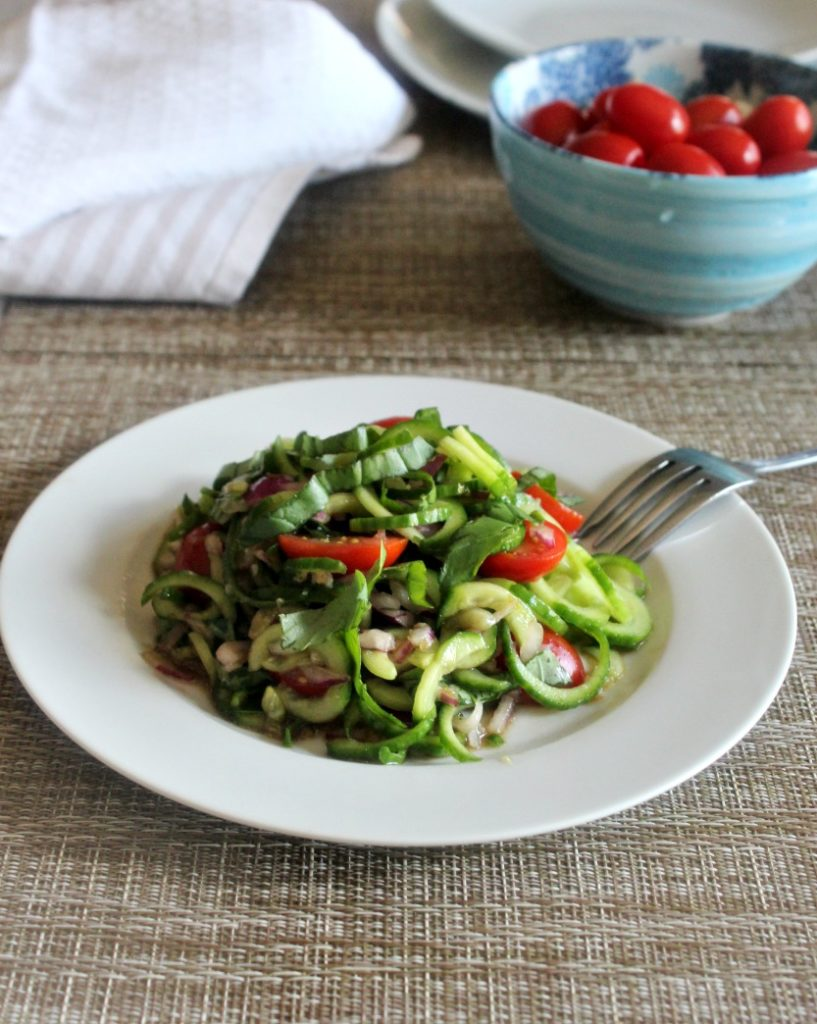 Cucumber basil and balsamic vinegar a cool and refreshing salad Simple and Savory.com